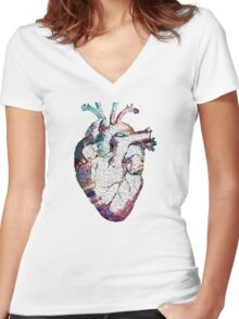 Anatomy - Heart (Oil Paint) Women's Fitted V-Neck T-Shirt