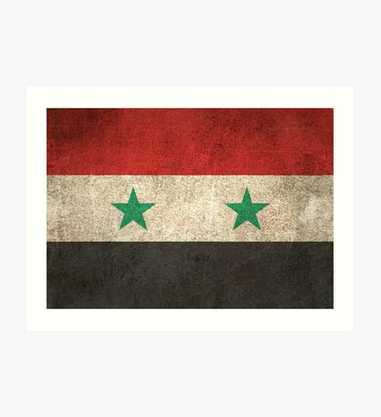 Old and Worn Distressed Vintage Flag of Syria Art Print