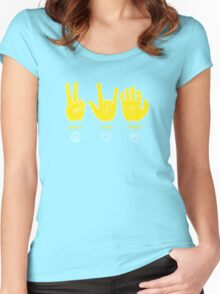 Peace Love Baylor [gold/white] Women's Fitted Scoop T-Shirt