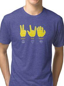 Peace Love Baylor [gold/white] Tri-blend T-Shirt