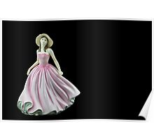 Bone China Figurine Wearing a Light Pink Dress Poster