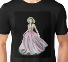 Bone China Figurine Wearing a Light Pink Dress Unisex T-Shirt