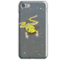 A green pond frog in black water. iPhone Case/Skin