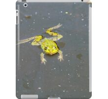 A green pond frog in black water. iPad Case/Skin