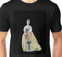 Bone China Figurine Wearing a White and Yellow Dress Unisex T-Shirt
