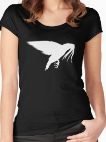 Squigeon: White on Black. Women's Fitted Scoop T-Shirt