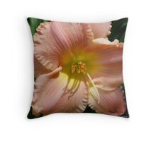 Peach Lily Throw Pillow