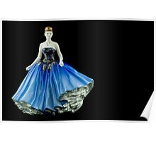 Bone China Figurine wearing a Blue Dress Poster