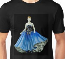 Bone China Figurine wearing a Blue Dress Unisex T-Shirt
