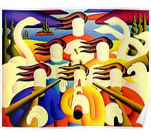 Trad session with soft musicians and swans in landscape with trees Poster
