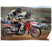Danger on a dirt track - Motocross Sidecar Team Poster
