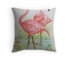 Flamingos cooling down Throw Pillow
