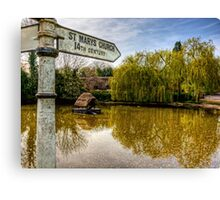 The Duckpond in the village of Crawley, near Winchester Canvas Print
