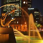 Victoria Square Fountain at Night by Barb Leopold