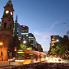 Adelaide Tram at Night by Barb Leopold