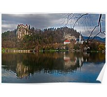 The Castle and the Church. Lake Bled. Slovenia Poster