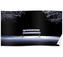 Bench and snow Poster