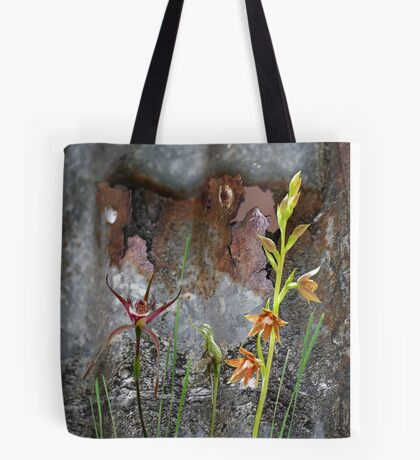 Rusty Spider & Orchids with Rusty Tin, native orchids of Australia. Tote Bag
