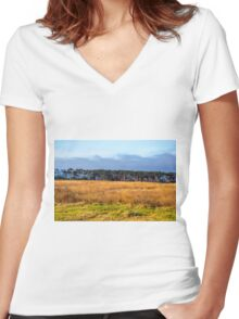 TREE LINED MEADOW Women's Fitted V-Neck T-Shirt