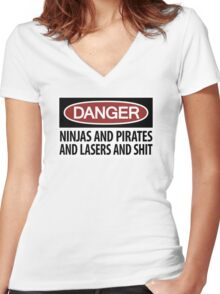 Ninjas and Pirates and Lasers, Oh My! Women's Fitted V-Neck T-Shirt