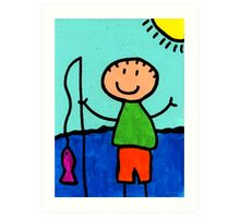 Happi Arte 2 - Boy Fish Art Art Print