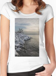 Clearing Snowstorm - Lake Ontario, Toronto, Canada Women's Fitted Scoop T-Shirt