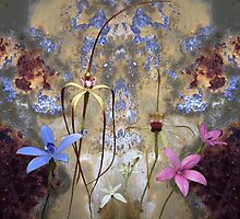 Silky Blue orchid with blue rusty tin by Leonie Mac Lean