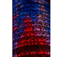 Bright Blue, Red and Pink Illumination - Agbar Tower, Barcelona, Catalonia, Spain Photographic Print