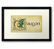 D is for Dragon Manuscript Page Gold Framed Print