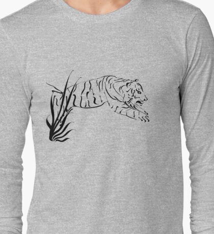 Leaping Tiger black Long Sleeve T-Shirt