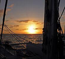 Catamaran Sunset ~ Nassau the Bahamas by Bonnie Robert