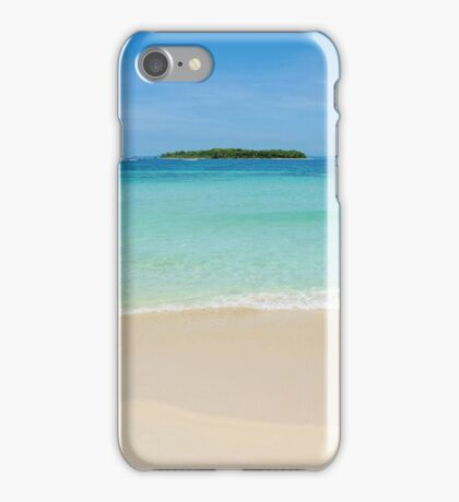 Beach sand with tropical island at the horizon iPhone Case/Skin
