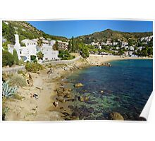 Mediterranean beach with rocks and sand in Spain Poster