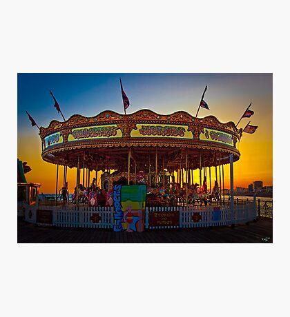 Carousel at Sunset on Brighton Pier Photographic Print