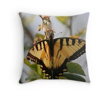 Yellow Butterfly on a Blueberry Bush Throw Pillow