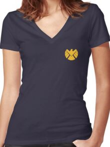 Agents of SHIELD (Gold) Women's Fitted V-Neck T-Shirt