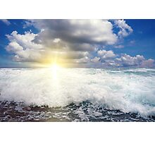 Breaking wave with sun at the horizon Photographic Print