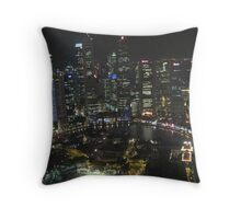 Singapore cityscape at night Throw Pillow