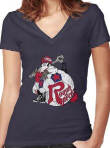 Tulsa Roughnecks 1978-1984  Women's Fitted V-Neck T-Shirt
