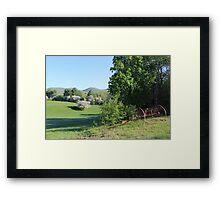 Paddock with Farming equipment Framed Print