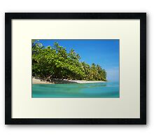 Tropical sandy shore with lush vegetation Framed Print