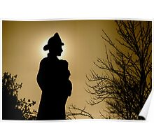 Silhouette of Fireman  Poster