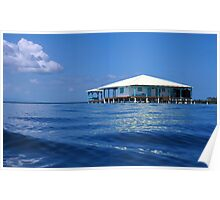 Caribbean house on stilts over the sea Poster