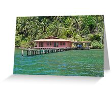 Caribbean house with dock over the water Greeting Card