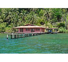 Caribbean house with dock over the water Photographic Print