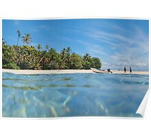 Caribbean island with boat on the beach Poster