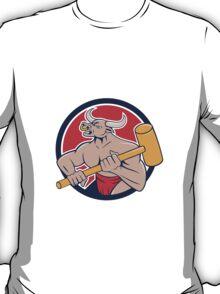 Minotaur Wielding Sledgehammer Circle Cartoon T-Shirt