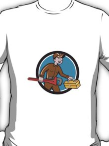 Plumber Carrying Monkey Wrench Toolbox Circle T-Shirt