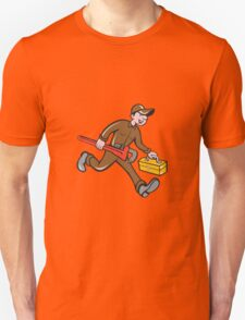Plumber Carrying Monkey Wrench Toolbox Cartoon T-Shirt