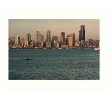 Seattle Skyline at Sunset with Kayaker Art Print